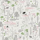 image of bear  - Seamless pattern with trees - JPG