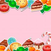 picture of candy cane border  - Background with colorful sticker candy - JPG