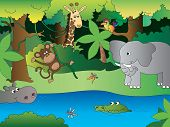 image of jungle animal  - illustration of funny jungle with happy animals - JPG