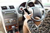 pic of unsafe  - Driving and using cellphone is dangerous and unsafe for other people - JPG