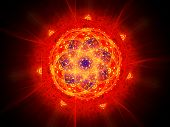 picture of fiery  - Colorful vibrant fiery magic mandala in space computer generated abstract background - JPG