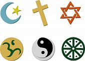 image of ohm  - Vector Illustration of 6 religious icons in 3D style - JPG