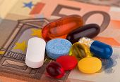 image of ibuprofen  - Colourful pills and capsules over 50 euro - JPG
