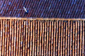 stock photo of lightning-rod  - terracotta tiles to a roof of a European city with lightning rod - JPG