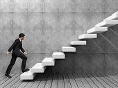 foto of climbing wall  - Concept or conceptual 3D man or  businessman climbing on a stair or steps near a wall background - JPG