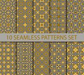 pic of ten  - Set of royal seamless patterns in oriental style contains ten unrepeatable ornaments with Swatch for filling - JPG