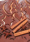 picture of christmas spices  - Spice for baking anise cinnamon cloves lying on dough for gingerbread concept for baking and christmas time - JPG