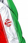 pic of tehran  - Iranian waving flag on white background - JPG