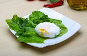 stock photo of benediction  - Egg benedict with salad leaves on the wood background - JPG