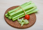 picture of celery  - Fresh Green Celery sticks on the wood background - JPG