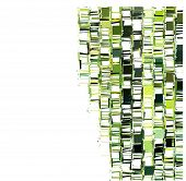 stock photo of fragmentation  - green fragmented square abstract pattern over white - JPG