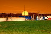 stock photo of biogas  - Bio gas plant at sunset - JPG