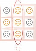 foto of angry smiley  - Smiley tic tac toe game vector illustration - JPG