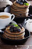 foto of buckwheat  - Blueberry pancakes with buckwheat flour for breakfast  - JPG