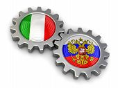picture of snatch  - Russian and Italian flags on a gears - JPG