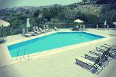 stock photo of sun-tanned  - Generic vacation resort in Crete island in Greece - JPG