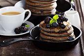 stock photo of buckwheat  - Blueberry pancakes with buckwheat flour for breakfast - JPG