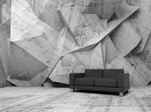 pic of building relief  - Abstract interior concrete office room with chaotic relief pattern on the wall and black leather sofa 3d illustration - JPG