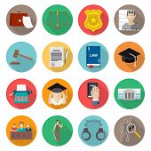 pic of jury  - Law icon flat set with lawyer jail court jury isolated vector illustration - JPG