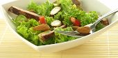 stock photo of low-necked  - Photo of salad contain of lettuce meat and paprika - JPG