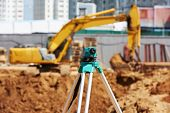 stock photo of theodolite  - Surveyor equipment tacheometer or theodolite outdoors at construction site - JPG