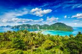 stock photo of phi phi  - Tropical island with resorts wallpaper  - JPG