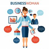 stock photo of multitasking  - Businesswoman with many hands multitasking design concept flat vector illustration - JPG