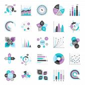 stock photo of graph  - Business charts graphs and infographic elements icons set isolated vector illustration - JPG
