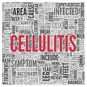 picture of deep-tissue  - Close up CELLULITIS Text at the Center of Word Tag Cloud on White Background - JPG