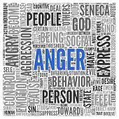 picture of anger  - Close up ANGER Text at the Center of Word Tag Cloud on White Background - JPG