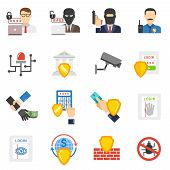 picture of safety  - Internet banking system safety flat icons set with virus and hackers detecting software abstract isolated vector illustration - JPG