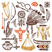 picture of headband  - Native americans set with hand drawn feathers headband and traditional patterns isolated vector illustration - JPG