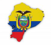 picture of guayaquil  - Shape 3d of Ecuador map with Ecuadorian flag illustration isolated on white background - JPG