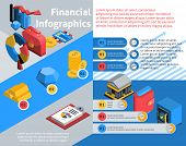 stock photo of isometric  - Financial infographics set with isometric banking and investment symbols vector illustration - JPG