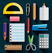 picture of protractor  - A set of office and school supplies illustrated in simple flat design - JPG