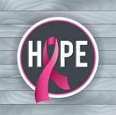picture of mammogram  - An illustration of a pink Breast Cancer Awareness ribbon and badge with the theme of HOPE - JPG