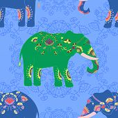 pic of indian elephant  - Seamless pattern with indian elephant with beautiful pattern - JPG