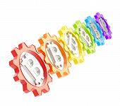 image of peer  - Row of a colorful plastic gears with a bitcoin peer - JPG