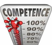 pic of tasks  - Competence word on a thermometer or gauge to illustrate being able or having capability or capacity to perform a task with good or adequate results - JPG