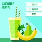 stock photo of celery  - Infographics of pear celery and banana smoothie recipe - JPG