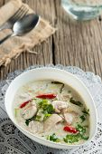 stock photo of gai  - Coconut milk with chicken - JPG