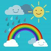 stock photo of rain cloud  - Arc rainbow vector Sun and rain cloud funny smiling - JPG