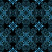 stock photo of celtic  - Abstract metallic blue viking or celtic like pattern made seamless - JPG