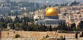 foto of israel people  - Urban landscape view of Jerusalem and The Dome of the Rock on the Temple Mount from Mount Scopus in Jerusalem Israel - JPG