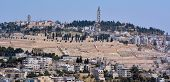 picture of ascension  - Urban landscape view of Jerusalem and the watchtower of the Russian Church of the Ascension on top of mount of olives in Jerusalem Israel - JPG
