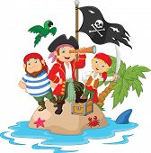 image of treasure  - Vector illustration of Little kids cartoon trapped in areas of the island treasure - JPG