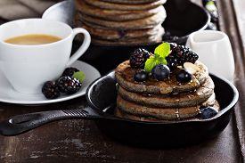 picture of buckwheat  - Blueberry pancakes with buckwheat flour for breakfast - JPG