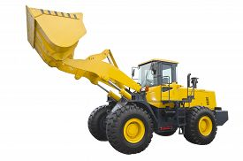 picture of bulldozers  - Big bulldozer isolated on a white background - JPG