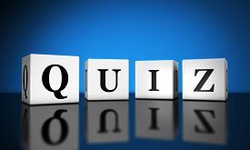 pic of quiz  - Website and Internet concept with quiz word sign on cubes with reflection and blue background for web and online business - JPG