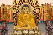 stock photo of emei  - Golden buddha image in chinese temple Nakhon Nayok Thailand - JPG